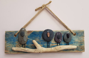 Artwork created from driftwood & pebbles, original works of art in acrylics & oil pastel, hand painted T-shirts inspired by & made in the beautiful Llyn Peninsula, North Wales