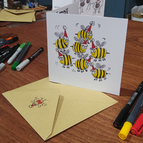 Hand drawn, pen & ink cartoon cards